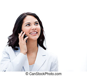 Portrait of an positive businesswoman talking on phone