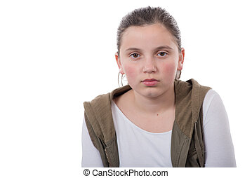portrait of an unhappy teenager on a white background