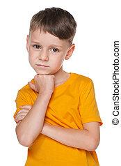 Portrait of an upset little boy