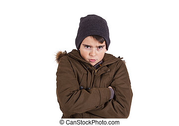 portrait of angry boy isolated on white