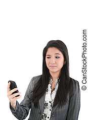 portrait of angry female looking at cellphone, isolated on white background