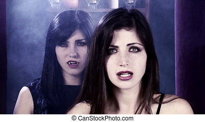 angry female vampires looking