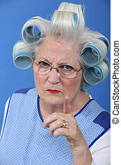 Portrait of angry grandma