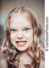 Portrait of angry little girl. - Portrait of angry...