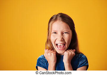 Portrait Of Angry Little Girl Screaming For Rage - Portrait ...