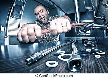 angry plumber