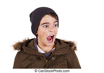 portrait of angry screaming child