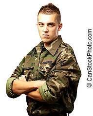 Portrait Of Angry Soldier On White Background