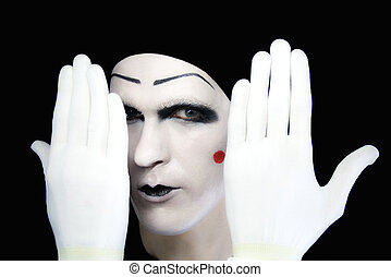 Portrait of artful peeping mime in white gloves - Portrait...