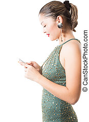 portrait of  asian beautiful  woman with phone on  isolated white background