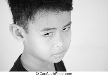Portrait of Asian Boy in Black and White