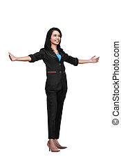 Portrait of asian business woman standing with open hand