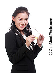 Portrait of Asian business woman with glasses