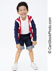 Portrait of asian funny boy with smile face