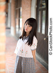 portrait of asian girl in outdoor