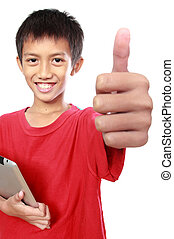 kid with tablet showing thumb up