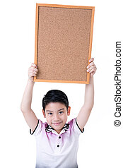 Portrait of Asian little boy hold wood board on white background