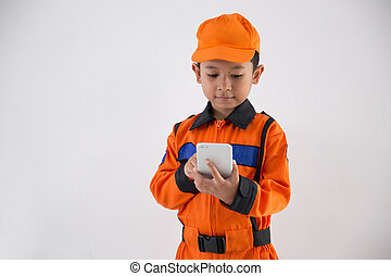 asian little boy with technician, engineer or astronaut...