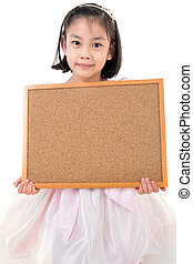Portrait of Asian little girl hold wood board on white backgroun