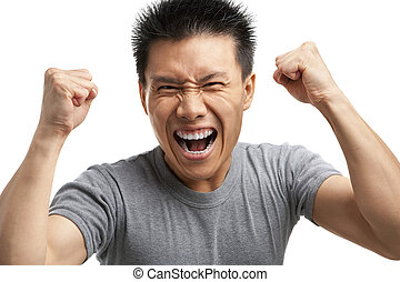 Asian man expressing his excitement - Portrait of Asian man ...