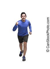 Portrait of asian man running jogging