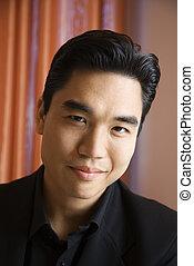 Portrait of Asian man. - Prime adult Asian male portrait.