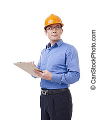 asian man with orange safety hat - portrait of asian man ...
