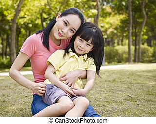 portrait of asian mother and daughter