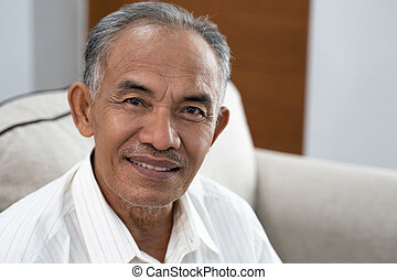 portrait of asian oldman smile when look at the camera - ...