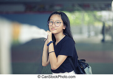 portrait of asian teenager happiness smiling face