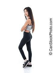 portrait of Asian teenager sport girl on white