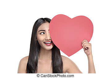 Portrait of asian woman with heart in her hands