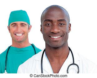 Portrait of assertive male doctors