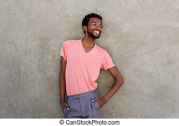 attractive african american man smiling