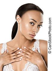 attractive african american woman in underwear