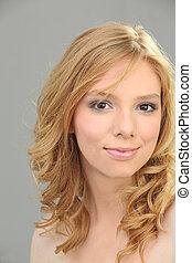 Portrait of attractive blond woman