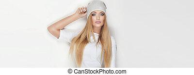 Portrait of attractive blonde woman.
