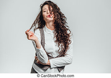 Portrait of attractive business woman on white background. With plenty of copy space.