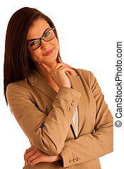 portrait of attractive business woman with glasses, isolated on white background, studio