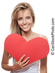 portrait of attractive caucasian smiling woman blond isolated on white