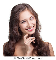Portrait of attractive caucasian smiling brunette woman.  Isolated. Toothy smile face, long hair.