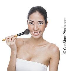 portrait of attractive caucasian woman brunette