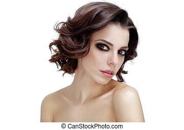portrait of attractive caucasian woman brunette. Perfect skin