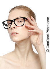 portrait of attractive caucasian woman isolated on white studio with glasses