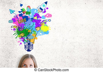 Portrait of attractive caucasian woman with colorful lamp sketch on concrete background. Creative ideas concept