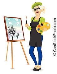 female painter artist holding palette and brush - portrait...