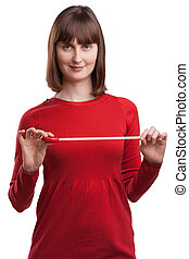 Portrait of attractive female with tape measure
