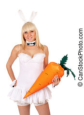 sexy young blonde with a carrot
