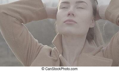Portrait of Attractive Smiling Caucasian Ethnicity Woman in...