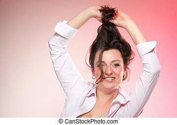 portrait of attractive smiling woman brunette
